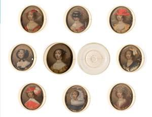 Caja y láminas de Enriqueta María de Francia
