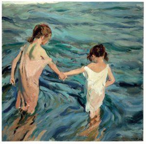 Sorolla pinta dos niñas en el mar