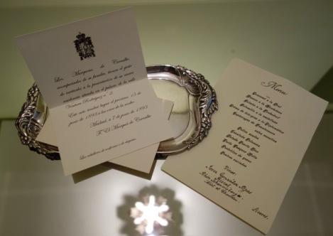 Invitación a la Fieta de inauguración del Palacio y Menú de la cena