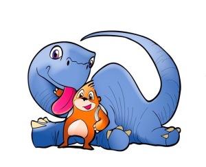 Marco Topo con un dinosaurio